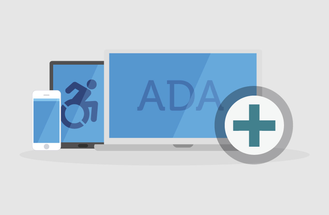 A smartphone, tablet, and laptop showing an image of a person in a wheelchair and the letters ADA