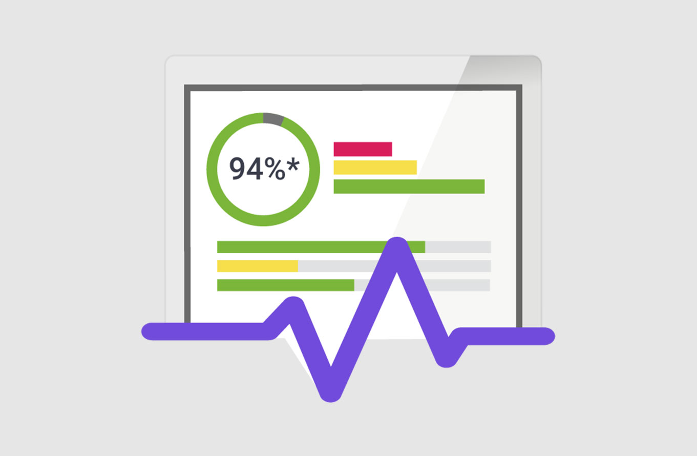 A screen showing an audit report summary with a score of 94%