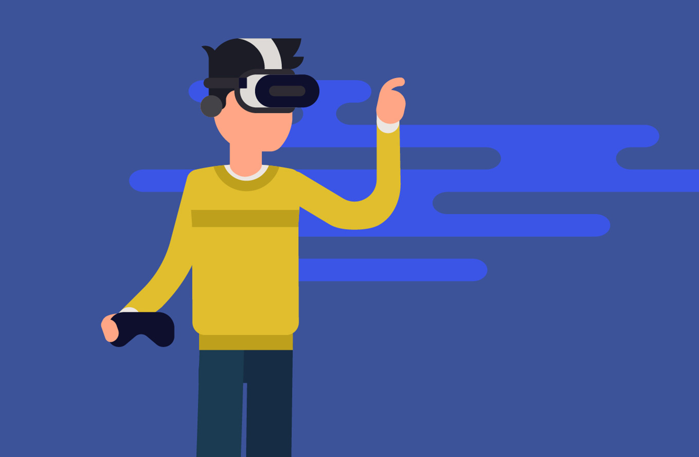 A man holding a video game controller and wearing a virtual reality headset. He is poking at something we cannot see.