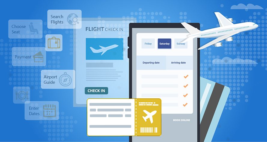 Collage of images about air travel including a airplane, paper ticket, credit card, and airline website