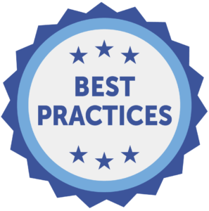 A starburst with the words Best Practices inside
