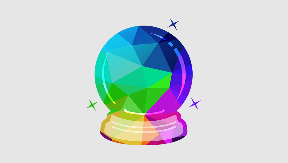 A crystal ball made of bright colors