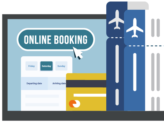 image of an airline booking website