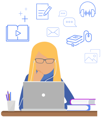 picture of student in front of laptop with education icons in the background