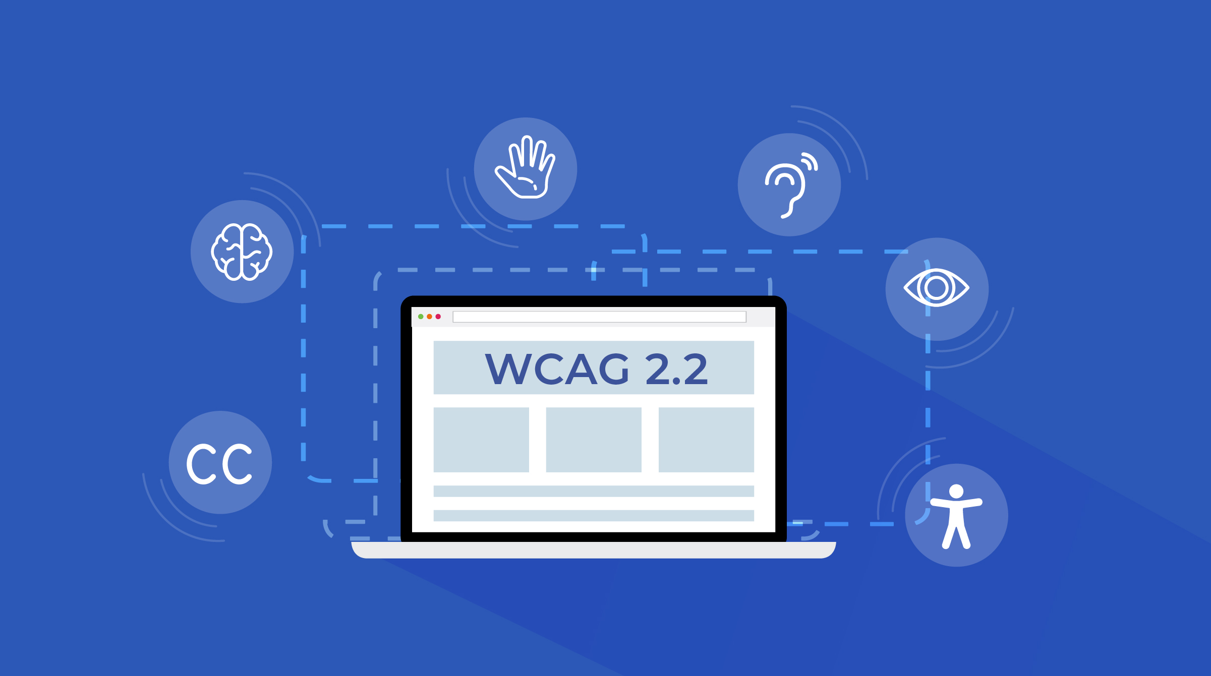 "Laptop screen displaying ""WCAG 2.2"""