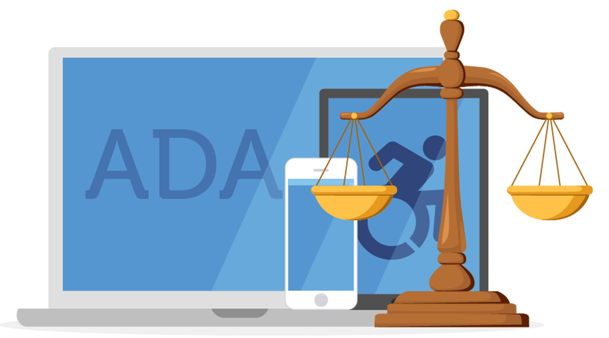 "Laptop, mobile phone, and tablet, behind the scales of justice. Laptop screen displays ""ADA"""
