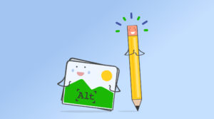 Smiling pencil character next to a smiling picture with the word Alt on it