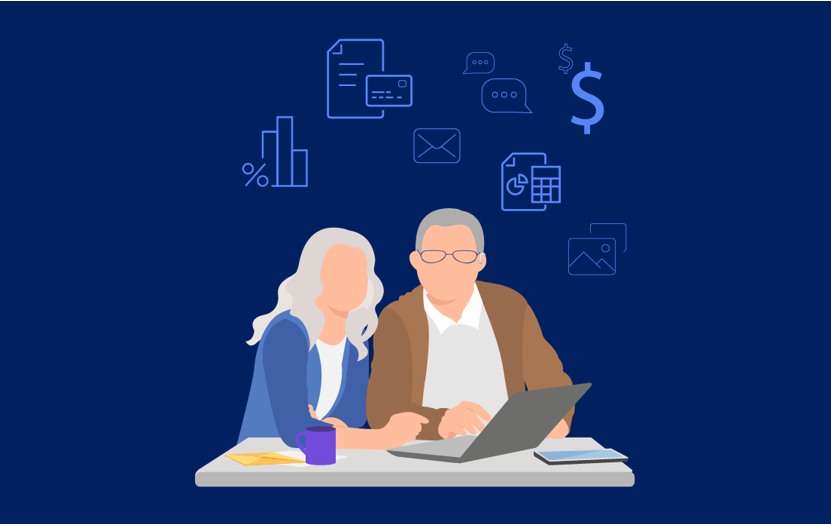 2 seniors using a laptop for financial services