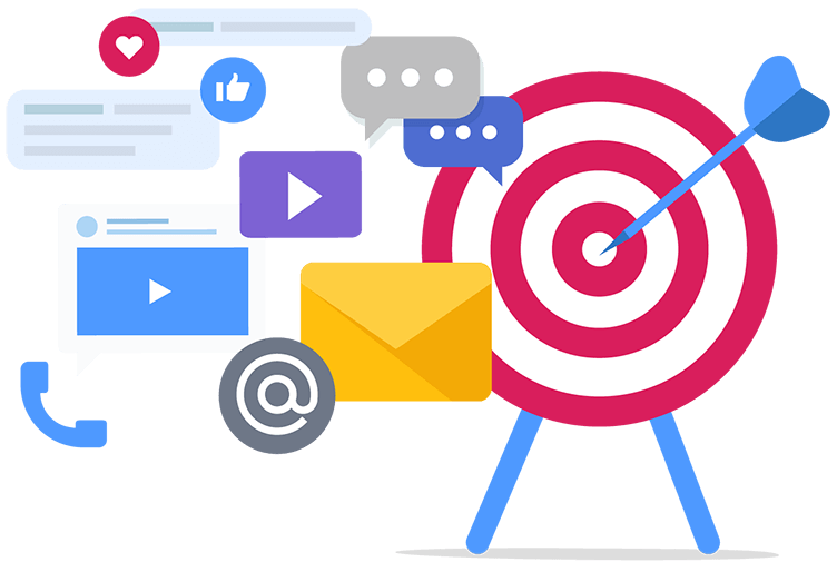 Graphic with target, conversation bubbles, media icons and like icons representing digital marketing