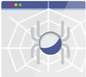 A spider creating a web on a webpage