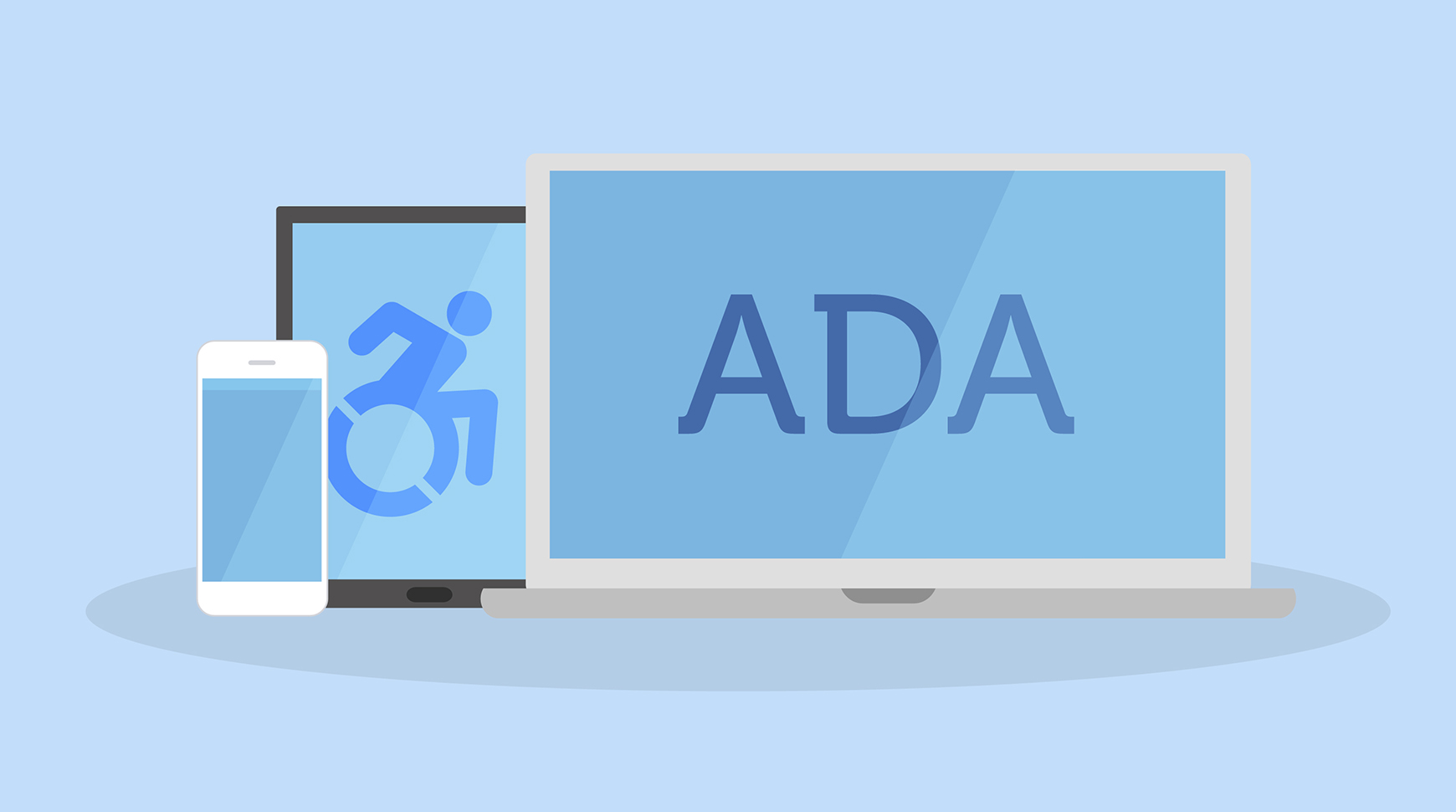 "Mobile phone, tablet, and laptop displaying wheelchair symbol and ""ADA"""
