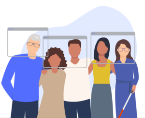 Illustration of multiple people standing next to each other.