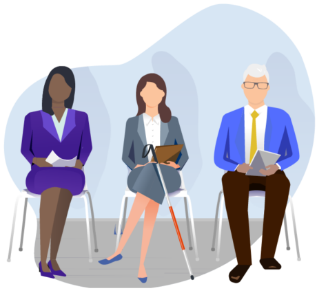 Three businesspeople sitting in a waiting room. The person in the center has a white cane.