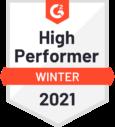 G2 Badge - High Performer (Winter 2021)