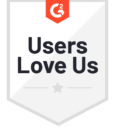 "G2 Badge with text ""Users Love Us"""