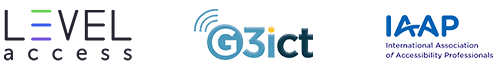 Level Access, G3ict, and IAAP logos