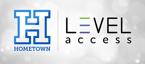 HomeTown Ticketing and Level Access logos